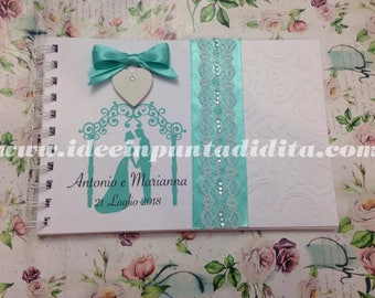 Guestbook Guest Book personalized signatures with hand-bound lace