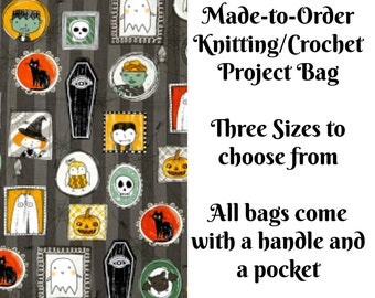 Halloween Portraits, Knitting Project Bag, Large Project Bag, Drawstring, Zippered, Sock Sack, Yarn Tote, Sock Project