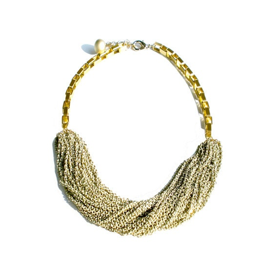Multi Strand Chic Statement Chain Necklace - Ivory