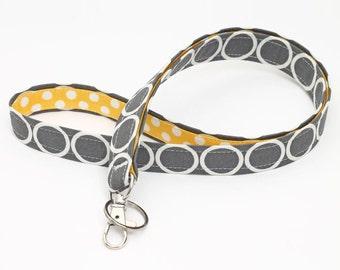 ID lanyard, Handmade Swivel Clip ID Holder, Lanyard ID Badge Holder, Fabric Neck Strap - white circles in grey with yellow polka dots