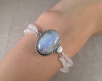 Double strand moonstone pendant bracelet free shipping
