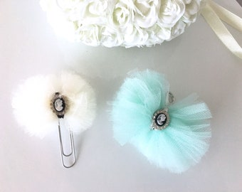 Soft tulle cameo planner clip with your choice of tulle color perfect for travelers notebooks and planners