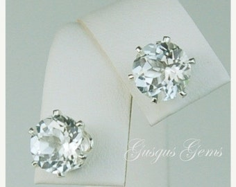 Memorial Day Sale White Topaz Sterling Silver Stud Earrings 8mm 4.30ctw