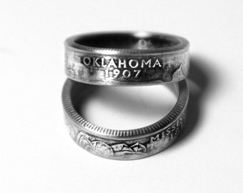 Handcrafted Ring made from a US Quarter - Oklahoma - Pick your size