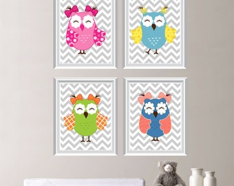 Whimsical Owl Chevron Quad - Baby. Decor. Nursery. Girl. Whimsy - Shown in Pink Blue Yellow Green Orange - You Pick the Size (NS-151)