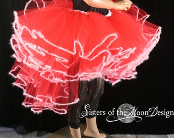 Holiday Queen tutu skirt red white fuzz trimmed adult costume dance wedding bridal christmas santa - You Choose Size - Sisters of the Moon