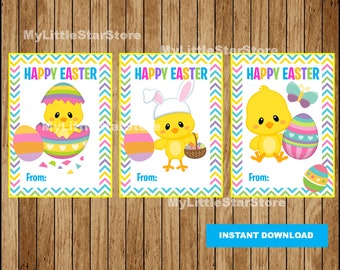 Happy Easter Tags, Printable Easter cards, Chick Easter tags Instant download
