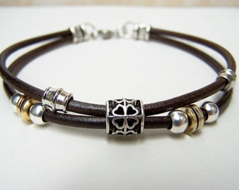 Leather Ankle Bracelet, With Clover/Flower Bead, Petite to Plus Size, Custom Made, Leather Bracelet