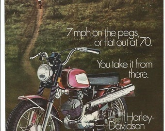 1971 Advertisement Harley Davidson Rapido 125cc HD Torquer Small Red 70s Shop Garage Clubhouse Dealership Wall Art Decor