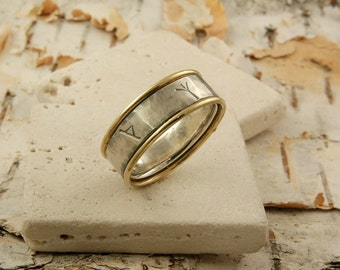 Viking Rune Ring in Sterling silver and 18k gold
