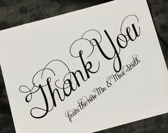 Thank you note cards, wedding thank yous, fancy script set of 20