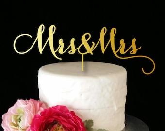 Mrs & Mrs Cake Topper