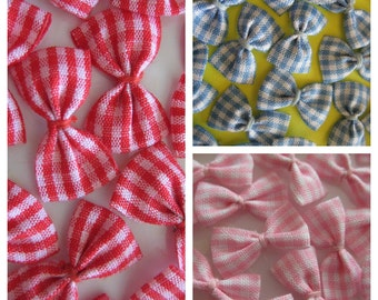 Plaid Fabric Bows Red, Blue, Pink  for Sewing, Crafting, Doll's Clothing, Embellishment, 1 inch / 25 mm, 30 pieces