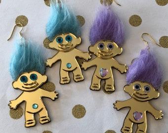 Furry Treasure Troll, Purple or Blue, Acrylic Laser Cut Earrings, Plastic Jewelry
