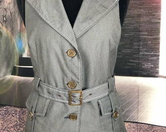 Gray Belted Sleeveless Top