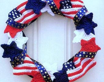 Vintage Crochet Pattern  Stars and Stripes Wreath  4th July  USA American Flag  Independence Day Holiday Home Decor
