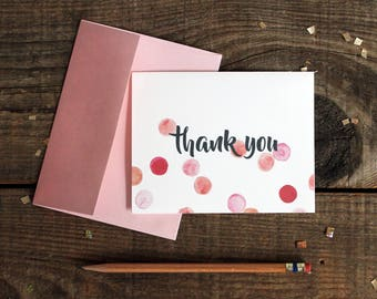 pink polka dot thank you cards - 10 wedding thank yous thank you cards