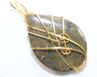 Stunning Jasper Cabochon Hand Polished and Wire Wrapped Using Silver Parawire Great Necklace Pendant Handmade USA
