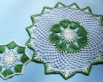 """Hand made Doily: """"Matched Set"""" 19 inches across (Large Doily)"""
