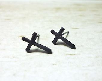 Black Cross Stud Earrings, Dainty Earrings