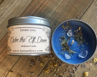 CALM the EFF DOWN Meditation Candle //Tin Candle // Spell Candle // Ritual Candle // Calming // Peace // Relaxation // Witchcraft // Magick