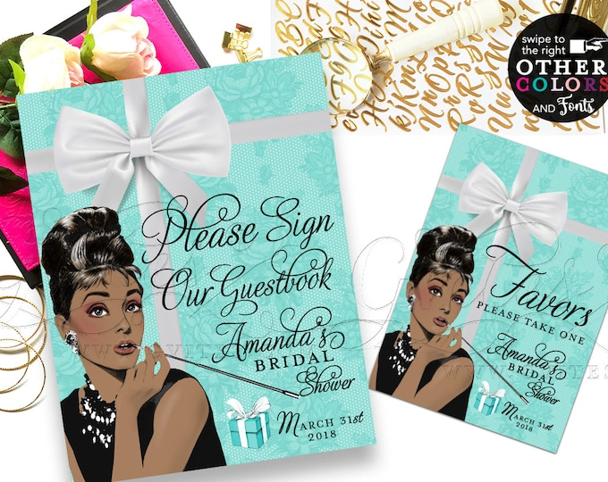 Guestbook Sign, Favors Bridal Shower Breakfast at and co, turquoise blue, african american Audrey Hepburn, DIY, Digital PRINTABLE 8x10 & 5x7