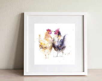 Hens CHICKENS wall art, home decor, nursery art, wildlife animal art, hand signed, illustration, animal art, gift idea, signed print, birds