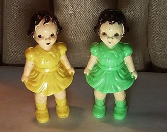 1960's Plastic Birthday Cake Toppers, 2 Little Girls, Figurines, Green Yellow