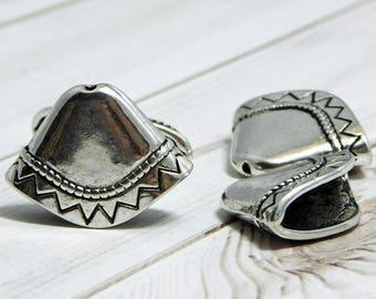 23x17mm - Tassel Caps - Caps For Tassels - Antique Silver - Silver Tassel Cap - Tassel End Caps - Oval Tassel Cap - 4pcs - (1502)