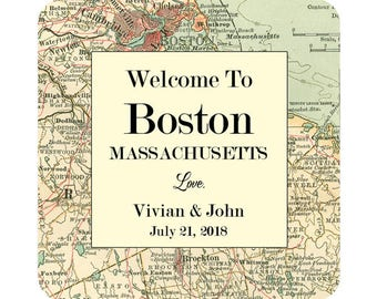 Personalized Map Wedding Welcome Labels Boston MA State of Massachusetts Square Glossy Designer Stickers