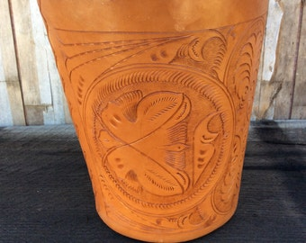 Sergios Collection tooled leather trash can or planter