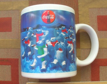 1995 Coca Cola Coffee Mug / Polar Bears By the Dozens Having a Coca Cola in the Arctic Coffee Cup Mug