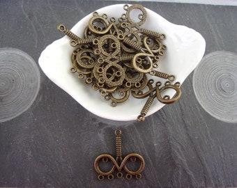 Antiqued Bronze Double Circle Charms Pendants Links Connectors