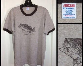 1980s soft tri blend ringer big fish fishing lure t-shirt size large 18.5x25.5 heather brown rayon ringer bass karp