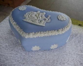 Wedgwood Light Blue Jasperware Large Heart Shape 5 inch Box With Lid - Vintage