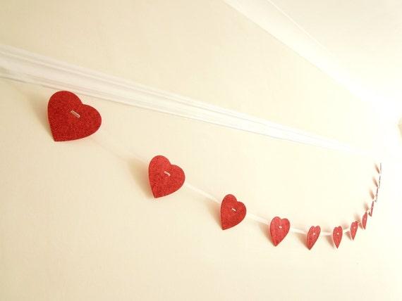 Red Heart Garland - Love theme banner - St Valentine garland - Valentine bunting -  Tasteful Bachelorette decor - Classy hen night bunting