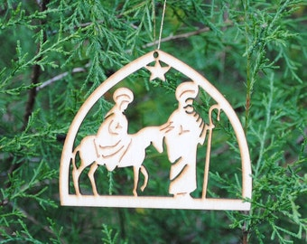Natural Wood Nativity Ornament