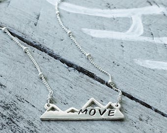 DÉMÉNAGEMENT - collier avec pendentif Sterling Silver Mountain