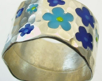 Wedding Band, silver ring,Recycled silver, Woman Wedding Band. 20 flowers ring,Made To Order  ring, JEWELS OF JOY