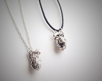 Anatomical Heart Necklace, Silver Heart Charm Pendant, Real Life Like Heart Necklace, Taxidermy Jewellery, Medical Student Doctor Jewellery