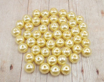 8mm Glass Pearls - Light Yellow - 50 pieces - Lemon - Canary - Blonde