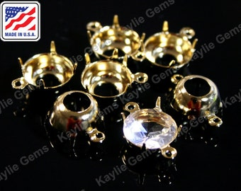 24K Pure Gold Plated 10mm Round Prong Setting Open Back 1 Ring 2 Ring, Made in the USA