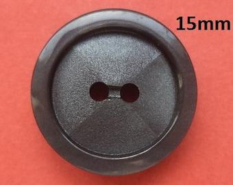 10 buttons 15 mm dark grey (4606) Grey button