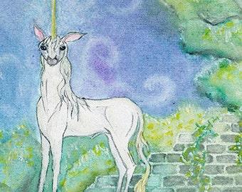 Einhorn in vergessenen Garten - Original Aquarell Malerei 12 Quadratzoll