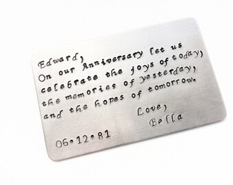 Anniversary Gift For Him Wallet Insert Card - Anniversary Gift - Personalized - Create Your Own Message, Engagement Gift - Credit Card Size