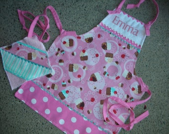 Girls Cupcake Aprons - Girls Aprons - Childrens Aprons - Monogrammed Girls Aprons - Cupcake Apron - Pink Cupcake Apron - Annies Attic Aprons