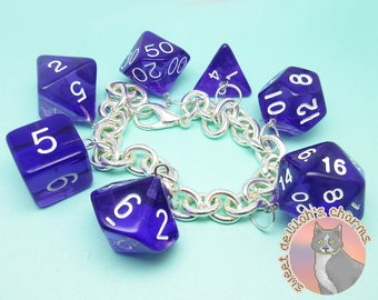 Hex Dice Charm Bracelet - Tabletop D&D Dungeons and Dragons Jewelry - Chunky Chain d20