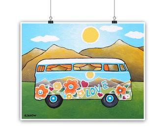 VW Bus Art Print Summer Decor, Volkswagen Van Bus, Hippie Van Retro Bus Print, VW Art, 60s Decor, Travel Gift