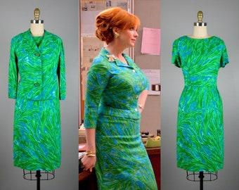 Vintage 1960s Green Linen Dress & Jacket Set 60s Joan Mad Men Green and Blue Spring Ensemble by RK Original Size M