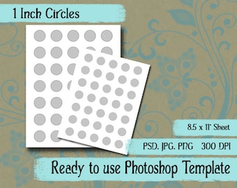 Scrapbook Digital Collage Photoshop Template, 1 Inch Circles